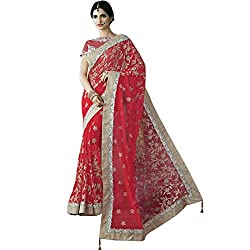 Vasu Saree Sterling Red Net Designer Saree