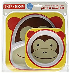 Skip Hop Zoo Melamine Plate and Bowl Set, Monkey