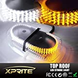Xprite White & Amber 240 LED Law Enforcement Emergency Hazard Warning LED Mini Bar Strobe Light with Magnetic Base