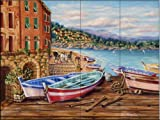 Boats by the Bay by Rita Broughton Tile Mural for Kitchen Backsplash Bathroom Wall Tile Mural