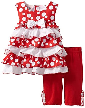 Little Lass Baby-Girls Infant 2 Piece Puff Print Ruffle Skimmer Set, Red, 24 Months