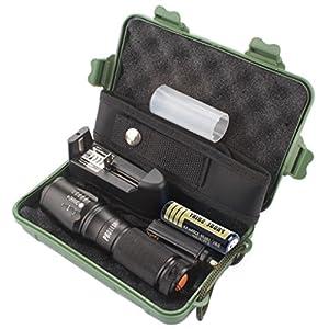 Internet 5000 Lumens Tactical LED CREE XM-L T6 Lampe de poche de police X800 Zoom Super Bright militaire de grade étanche titulaire Torche 5 Modes+batterie 18650(1pcs)+Chargeur Unique+Pochette en nylon+Étui de protection