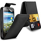 KC-Electronics Huawei Ascend G300 PREMIUM PU CREDIT CARD SLOT Black Leather Flip Case + LCD Screen Protector Guard