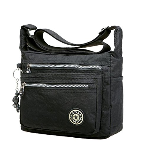 kolylong-womens-girls-waterproof-nylon-leisure-messenger-bags-shoulder-bags-black