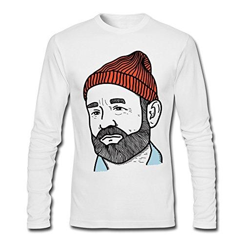 [Men's Zissou Humor Costume T-shirts White Long-Sleeve] (John Homestuck Costumes)