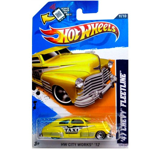 Mattel Hot Wheels HW CITY WORKS '12 Yellow TAXI '47 Chevy Fleetline 9/10 #139/247 - 1