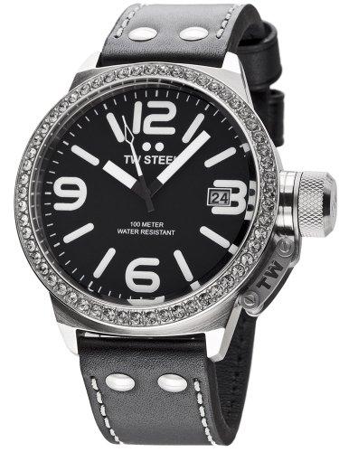TW Steel Canteen Style TW-37 - Reloj analógico de cuarzo para mujer, correa de cuero color negro