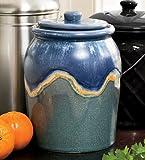 Leakproof, Odor-Free 1-Gallon Glazed Ceramic Compost Crock, In Blue