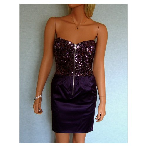 Women's Satin Sequin Evening Bodycon Party Dress