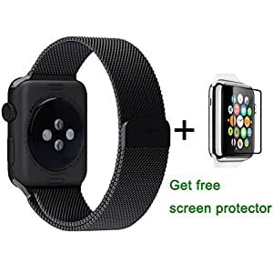 Apple Watch Band, Lovne Milanese Loop Stainless Steel Bracelet Strap Band for Sport&edition iWatch Band Replacement with Fully Magnetic Closure Clasp(Black-42mm)