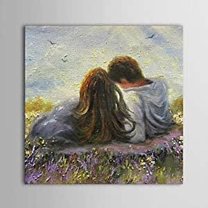 Amazon.com: Hand Painted Oil Painting People Romantic Couple in the