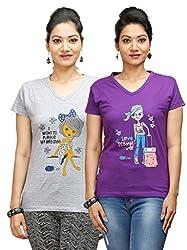 Flexicute Women's Printed V-Neck T-Shirt Combo Pack (Pack of 2)- Grey Milange & Purple Color. Sizes : S-32, M-34, L-36, XL-38