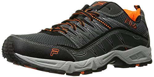 Fila Men's AT Peake Trail Running Shoe, Castlerock/Black/Vibrant Orange, 13 M US