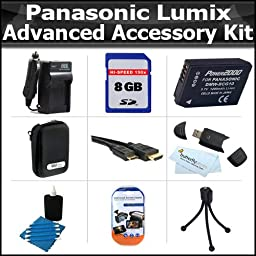 8GB Advanced Accessory Kit For Panasonic Lumix DMC-ZS7 DMC-ZS10, DMC-ZS8 DMC-ZS9 DMC-3D1, DMC-ZS20, DMC-ZS15 Digital Camera Includes 8GB High Speed SD Memory Card + Case + Extended Replacement Panasonic DMW-BCG10 (1200 mAH) Battery + AC/DC Charger + More