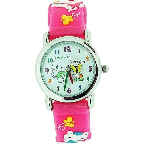 Citron Girls Kitty with Flowers Pink Silicone Strap Watch<br><br>