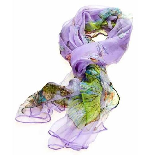 Women's Multi Function 100% Pure Silk Purple Butterfly Scarf/Headwear- Tested by leading authority