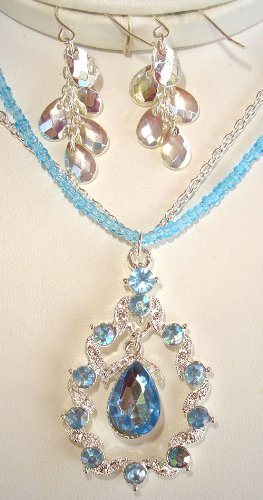 Tear Drop Sapphire Blue Necklace and Earrings Set