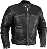 River Road Rambler Vintage Leather Jacket , Gender: Mens/Unisex, Apparel Material: Leather, Size: 42, Primary Color: Black, Distinct Name: Black XF09-3907 by Leather Factory Outlet