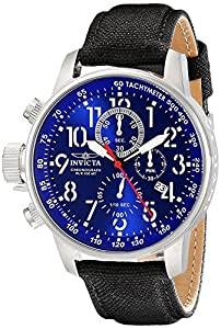 Invicta I-Force Lefty Military Men's Quartz Watch with Blue Dial Chronograph Display and Black Leather Strap 1513