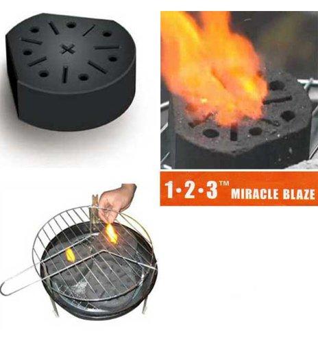 """Set di 6 blocchi per Barbecue o Camino """"Miracle Blaze"""", accensione istantanea, combustione biologica, 1 blocco = 2 ore di calore"""