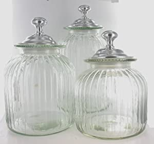 amazon com clear glass hand blown kitchen canister set