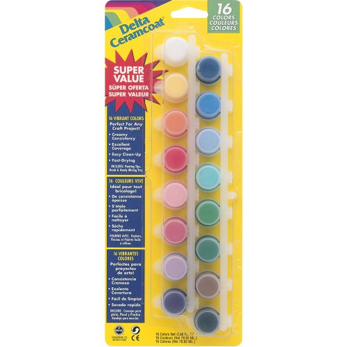 Plaid 16 Colors Delta Ceramcoat Paint Pot Super Value Set