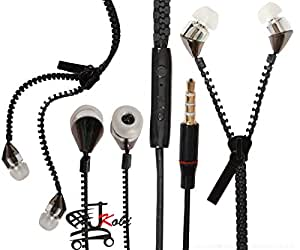 New Designed Zipper Style In Ear Bud Earphones Handsfree Compatible For Samsung Galaxy S Duos 3 G316HU -Black