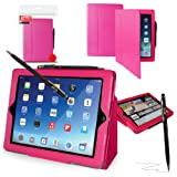Orzly® - Executive Wallet Stand Wallet Smart Case For New iPad Air With Sleep Wake Sensor Includes Slim Biro Stylus Pen (Pink)