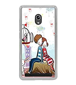 Love Couple 2D Hard Polycarbonate Designer Back Case Cover for Asus Zenfone 6 A600CG