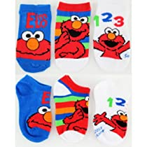 "Sesame Street Elmo, Cookie & Oscar Variety 3-Pack Infant & Toddler Socks (Stripes - ""All Elmo"", 2-4)"