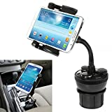 iKross Universal Car Cup Holder Mount with 3 Sockets and 2 USB charging port 2.1A - Black