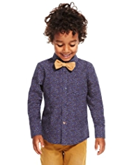 Pure Cotton Heart Print Shirt with Bow Tie