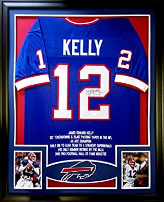 Jim Kelly Framed Stat Jersey Signed JSA COA Autographed Buffalo Bills