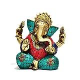 Gorgeous Taj Ganesh Ganesha Statue - Handmade Brass With Colorful Inlay Work - Lucky Anniversary Wedding Gift...