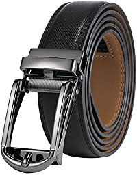 Marino Men\'s Genuine Leather Ratchet Dress Belt with Open Linxx Buckle, Enclosed in an Elegant Gift Box - Gunblack Silver Open Buckle W/Black Design Leather - Custom: Up to 44\