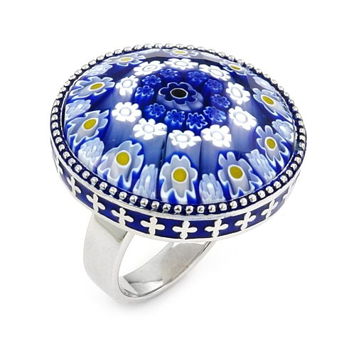 Millefiori Faceted Blue Round Ring, Size 8