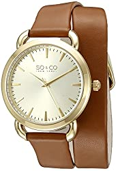 SO&CO New York Women's 5086.2 SoHo Quartz Brown Wrap-around Leather Band Watch