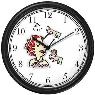 Make-up Artist, Make-over Wall Clock by WatchBuddy Timepieces (Hunter Green Frame)