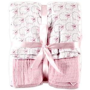 Hudson Baby 2 Count Muslin Swaddle Blanket, Pink
