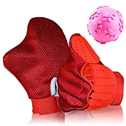 Cochop Red Cat Dog Hair & Fur Remover Mitt + Pet Toy Ball - Pet Grooming Glove Brush - Massage, Shedding, Petting - For Cat Bath, Dog Wash - Pet Groomer For Long & Short Hair- Clean Furniture