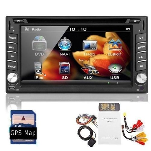 Ouku 2014 Newest Model 6.2-Inch Double-2 Din In Dash Touch Screen Lcd Monitor With Dvd/Cd/Mp3/Mp4/Usb/Sd/Amfm/Rds/Bluetooth And Gps Navigation Sat Nav Head Deck Tape Recorder Subwoofer Hd:800*480 Lcd Free Gps Antenna+Free Official Kudo Gps Map