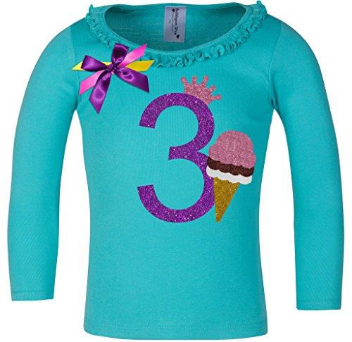 Bubblegum Divas Little Girls' 3rd Birthday Ice Cream Cone Long Sleeve Shirt 3T (Blue Bubblegum Ice Cream compare prices)