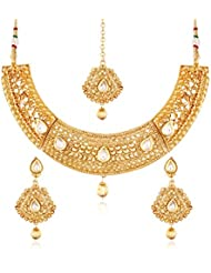 I Jewels 24K Gold Plated Traditional Jewellery Set With Maang Tikka For Women MS121