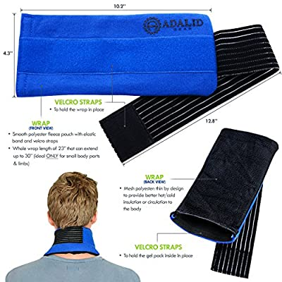 "Pain Relief Ice Pack with Wrap for Hot & Cold Therapy - New & Improved Flexible Gel Pack to Treat Sports Injuries & Aches : Microwavable + Reusable (Medium-Sized Wrap, 23"" - Ideal for Small Body Parts or Limbs Only)"