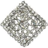 Maaria B's Accessories Silver Diamante Flower Rhinestone Brooch Shoe Pin Bridal Bouquet Cake