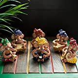 ExclusiveLane Terracotta Musical Ganesha Idols In Multicolour