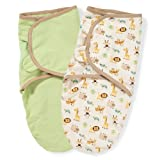 Summer Infant SwaddleMe 2 Pack 100% Organic Adjustable Infant Wrap, 7-14 Lbs, Small-Medium, Ivory/Green