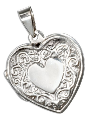 Sterling Silver High Polish Flat Heart Locket with Scroll Border.