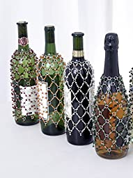 Beaded Decorative Wine or Champagne Bottle Covers Set of 4 Red, Green, Silver and Brown