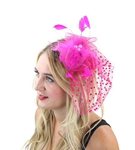 Tea Time Fascinator Hair Clip Hat with Flowers Feathers Polka Dot Net and Veil for Adults Women Teens (Hot Pink)